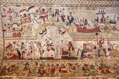 Typical painting on the wall. Orcha Palace, India Stock Images