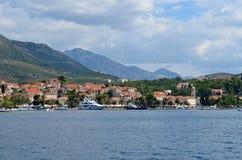 Typical panorama of croatian maritime town. Europe. Mediterranean sea. Dalmatian riviera. September 2013 royalty free stock photo