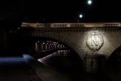 Typical Paris bridge with Napoleon sign Stock Photography