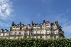 Typical parisian building, Paris Haussmann style architecture. Beautiful paris building and flat, Paris housing royalty free stock images