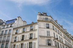Typical parisian building, Paris Haussmann style architecture. Beautiful paris building and flat, Paris housing royalty free stock photography