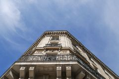 Typical parisian building, Paris Haussmann style architecture. Beautiful paris building and flat, Paris housing royalty free stock image