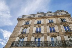 Typical parisian building, Paris Haussmann style architecture. Beautiful paris building and flat, Paris housing royalty free stock photos
