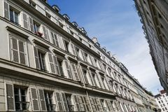 Typical parisian building, Paris Haussmann style architecture. Beautiful paris building and flat, Paris housing royalty free stock photo