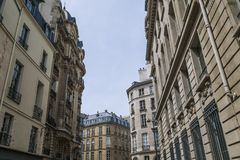 Typical parisian building, Paris Haussmann style architecture. Beautiful paris building and flat, Paris housing stock images
