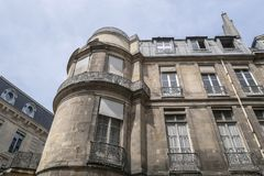 Typical parisian building, Paris Haussmann style architecture. Beautiful paris building and flat, Paris housing stock photos