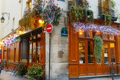 Typical Parisian cafe Christmas decorated in Paris Stock Images