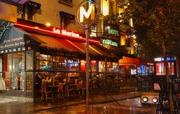 The typical Parisian cafe La Marine decorated for Christmas in the heart of Paris. Christmas is one of the main Catholic Stock Image