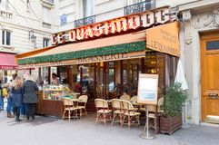The Typical Parisian cafe Le Quasimodo decorated for Christmas located near Notre Dame cathedral in Paris, France. Paris, France - December 17, 2017 : The Stock Photo