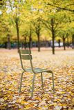 Typical park chair in the Luxembourg Garden. Paris. Typical Parisian park chair in the Luxembourg Garden. Paris royalty free stock photos