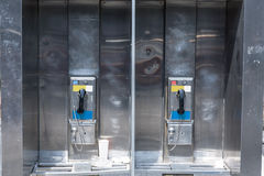 Typical payphone in new york city. Downtown Royalty Free Stock Photos