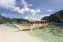 Typical philippine boats at beach Stock Images