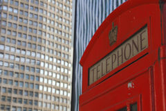 A typical phone booth in the London center. Royalty Free Stock Photo