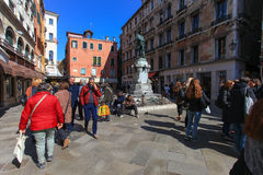 Typical Piazza or Campo in the heart of venice Royalty Free Stock Photos