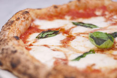 Typical pizza margherita. Typical neapolitan pizza margherita with basil, tomato and mozzarela Stock Photos