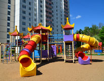 Typical playing complex for children in Moscow, Russia Stock Photos