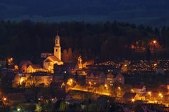 Typical polish village in the hills Royalty Free Stock Images