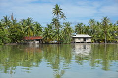 Typical Polynesian house shore French Polynesia Stock Photography