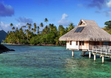 Typical Polynesian landscape - seacoast with palm trees and small houses on water Stock Images