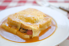 Typical Portugal food in Porto area: Francesinha Stock Photography