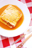 Typical Portugal food in Porto area: Francesinha Royalty Free Stock Photography