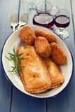 Typical portuguese appetizers on white dish Royalty Free Stock Photos