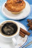 Expresso coffee and egg custard stock photo