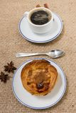 Expresso coffee and egg custard royalty free stock photo