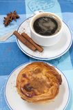 Expresso coffee and egg custard stock images