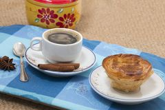 Expresso coffee and egg custard pastry stock images