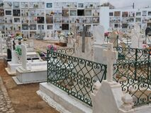 Free Typical Portuguese Cemetery In Fuseta At The Algarve Coast Of Portugal Royalty Free Stock Photos - 215743888