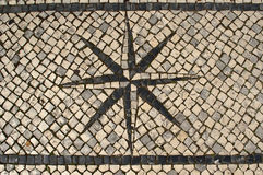 Typical Portuguese Cobblestone Pavement Windrose D Royalty Free Stock Photography