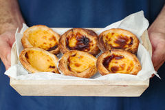 Typical portuguese dessert pasteis. De nata Royalty Free Stock Images