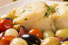 A typical Portuguese dish with codfish called Bacalhau do Porto. Stock Photo