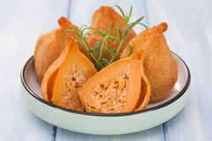 Typical portuguese dish. Coxinhas de frango stock images