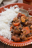 Typical portuguese dish feijoada with rice Stock Image