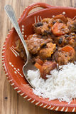 Typical portuguese dish feijoada with rice Royalty Free Stock Photo