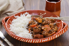 Typical portuguese dish feijoada with rice Royalty Free Stock Image