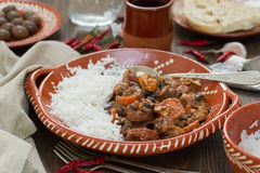 Typical portuguese dish feijoada with rice Royalty Free Stock Photography