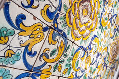Typical Portuguese old ceramic wall tiles (Azulejos) in Lisbon, Royalty Free Stock Photo