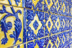 Typical Portuguese old ceramic wall tiles (Azulejos) in Lisbon, Royalty Free Stock Image