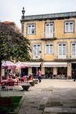 Caminha, Moledo, Viana do Castelo, Spain. A typical Portuguese square with terraces and visitors who come to drink their cup of coffee in the morning Royalty Free Stock Photos
