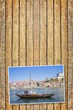 Typical portuguese wooden boats, called -barcos rabelos-, used i stock image