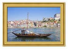 Typical portuguese wooden boats, in portuguese called stock photography