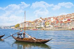 Typical portuguese wooden boats, called -barcos rabelos- used in stock image
