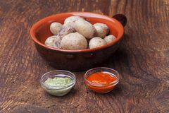 Potatos. Typical potatos from canary islands with mojo Stock Images