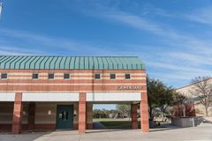 Facade of elementary school in America. Typical public facade of elementary school campus in Texas, USA blue sky Royalty Free Stock Photos
