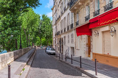 Typical quiet street in paris, France. Royalty Free Stock Photos