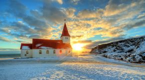 Typical Red Colored Wooden Church In Vik Town, Iceland Royalty Free Stock Images
