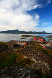 Typical red houses of the lofoten. Islands in norway Royalty Free Stock Photo